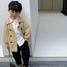 Boys Spring korean style khaki fashion double breasted trench jackets Kids casual turn-down collar coats