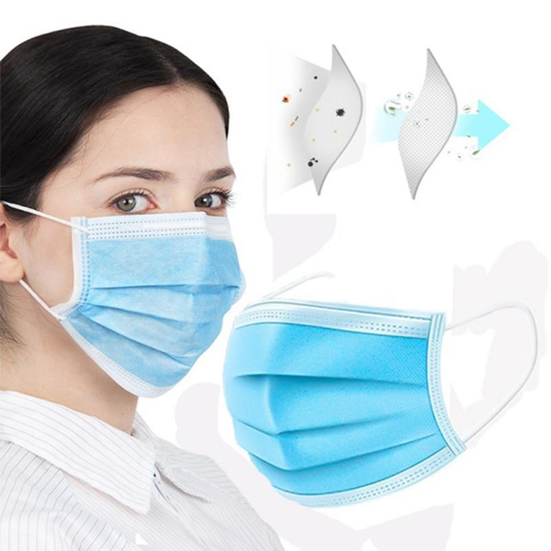 100pcs Solid Color Face Mouth Masks 3 Layers Non Woven Disposable Anti-Dust Dust Filter Pm2.5 Earloops Masks Unisex TSLM1