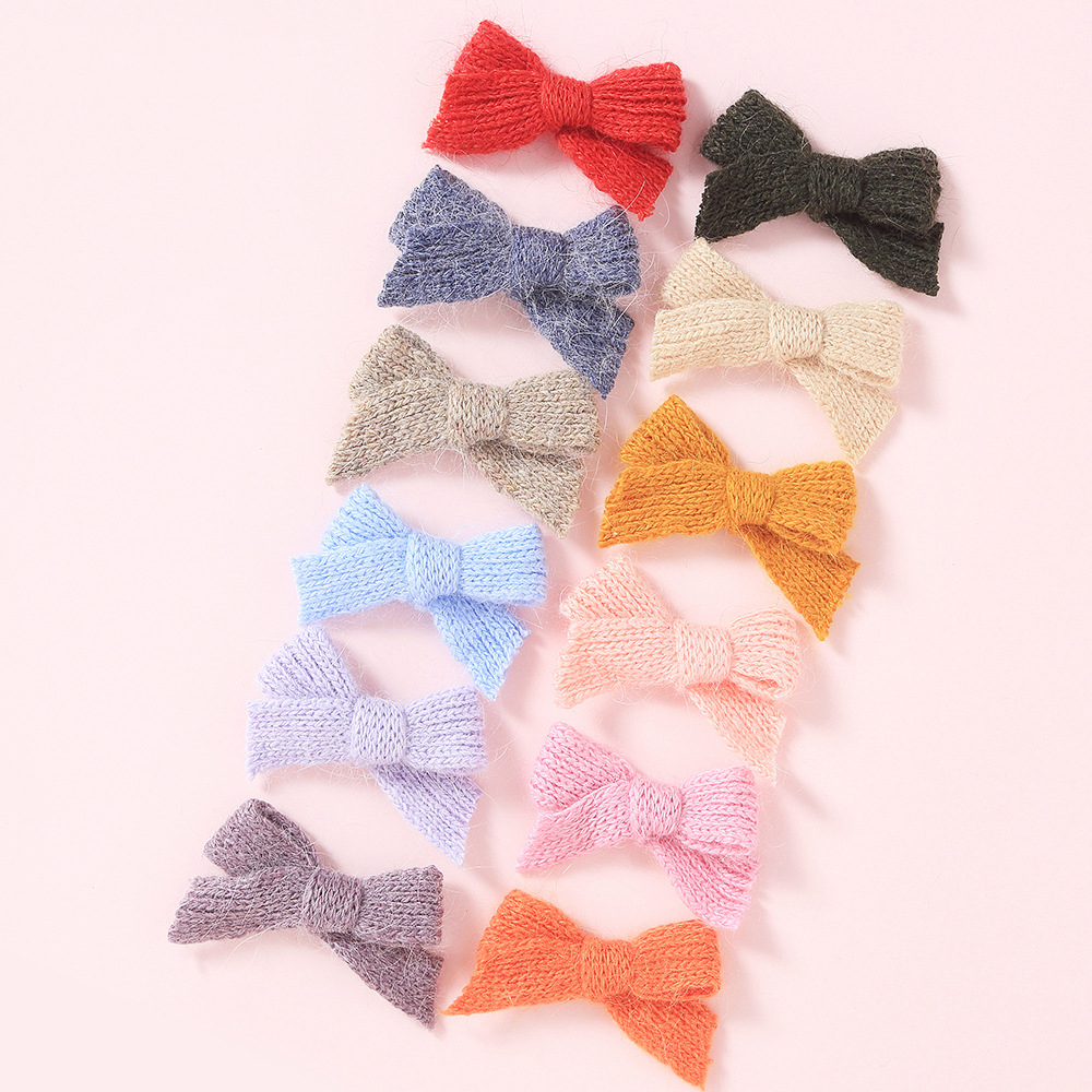 Baby Hair Clips Bow Hairpins For Women Girls Woolen Hair Accessories Winter Children Barrette Candy Color Kids Hairclips Fashion