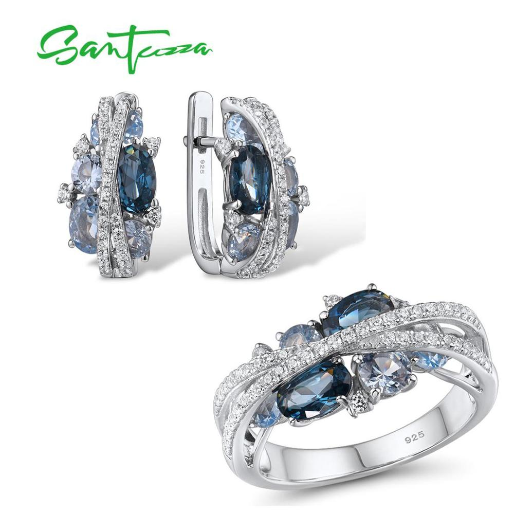SANTUZZA Genuine 925 Silver Jewelry Set For Women Sparkling Blue Spinel Earrings Ring Set Delicate Luxury Party Fine Jewelry