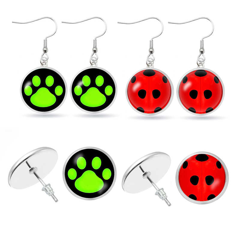 Ladybug dangle Earrings Cosplay Lady Bug Circle with Dot Earring Women Girl Party Gift Anime Jewelry Earrings for Women Aretes
