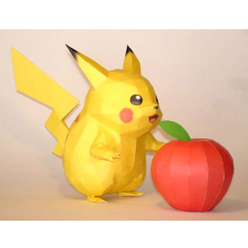 Pikachu Cartoon Anime Paper Model Manual DIY Adult Decompression Student Activity Toys For Children Gift