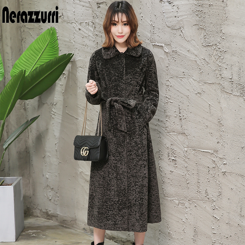 Nerazzurri Winter Long Faux Fur Coat Women Long Sleeve Turn-down Collar Plus Size Fake Karakul Fur Coat With Belt 5xl 6xl 7xl
