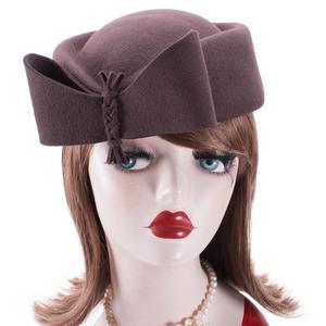 Image 2 - Teardrop Women Hats Vintage Look Pillbox Fascinator Hat Top Fancy Wool Felt Hat Cocktail Racing Party Wedding Church A253