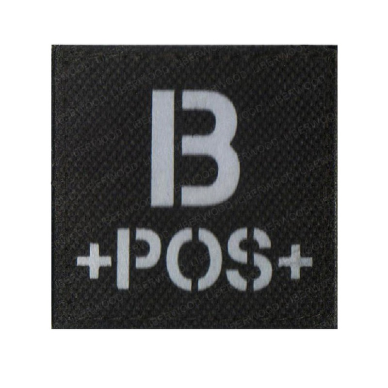blood type A+ B+ O+ AB+ POS Positive IR patch for backpacks morale tactical patches Reflective luminous  badge with hook loop (1)