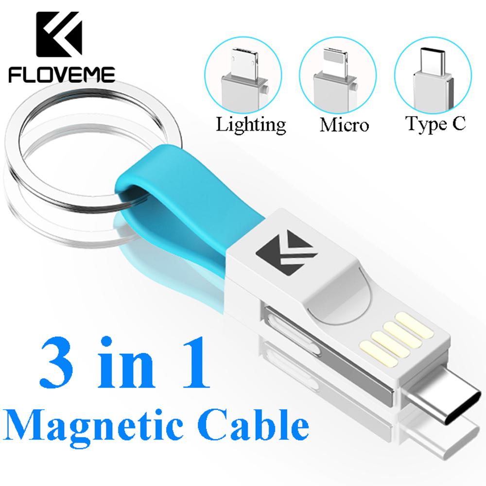 FLOVEME <font><b>3</b></font> <font><b>in</b></font> <font><b>1</b></font> USB Cable Micro USB Type C Lighting Cable For iPhone XR X Samsung HUAWEI 2A Mini <font><b>Keychain</b></font> Charger Charging Cables image