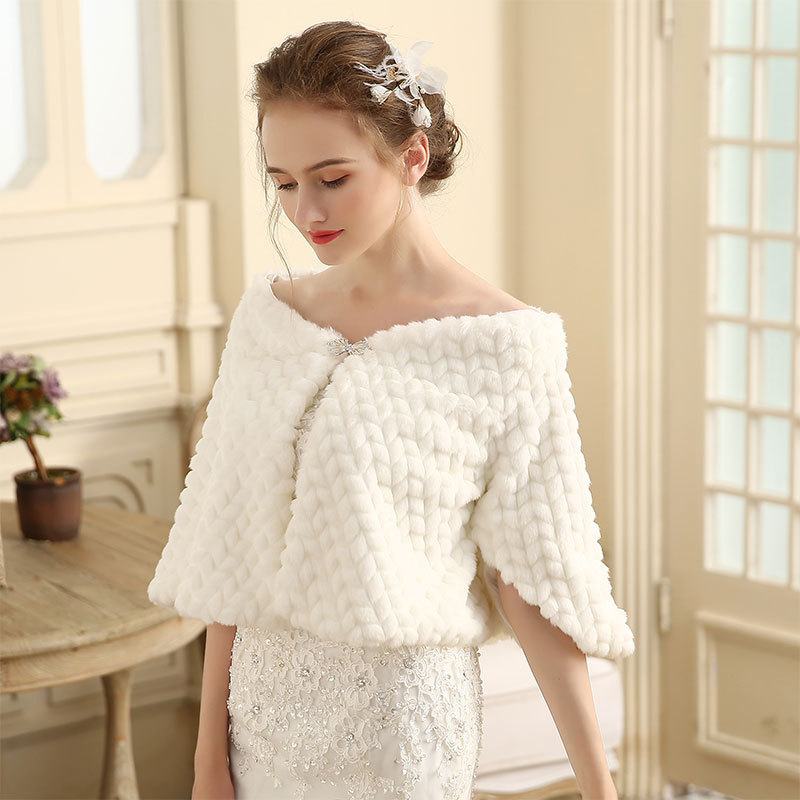 Wedding Bridal Jacket Estola De Pele Falso Toreritas Mujer Elonia 2020 Bridal Dress Fork Sleeve Shawl Winter Wedding Coat Warm