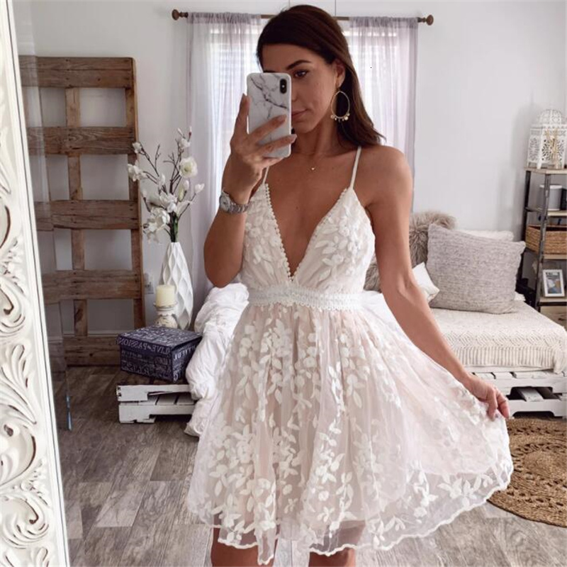 PFFLOOK Summer Lace Embroidery Ruffle Dress Women V Neck Backless Spaghetti Strap Female Dress Party Club White Dress Vestido