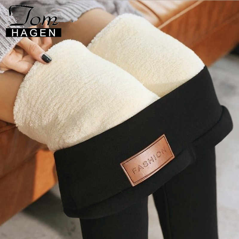 Tom Hagen Warm Winter Leggings Women Thick Velvet Wool Trousers Cashmere Pants High Waist Black Fleece Butt Leggings for Girls