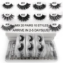 20 คู่ขนตาปลอมจำนวนมากผสม 10 รูปแบบ 3D ขนตาปลอมธรรมชาติยาวขายส่ง Hand made Lash ผู้ขายแต่งหน้า