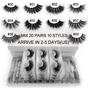 Image 1 - 20 คู่ขนตาปลอมจำนวนมากผสม 10 รูปแบบ 3D ขนตาปลอมธรรมชาติยาวขายส่ง Hand made Lash ผู้ขายแต่งหน้า