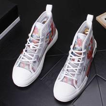 Новая летняя мужская повседневная обувь; Мужская обувь из дышащего сетчатого материала с высоким берцем; мужские трендовые туфли на шнуровке с вышитыми цветами; размеры 38-43