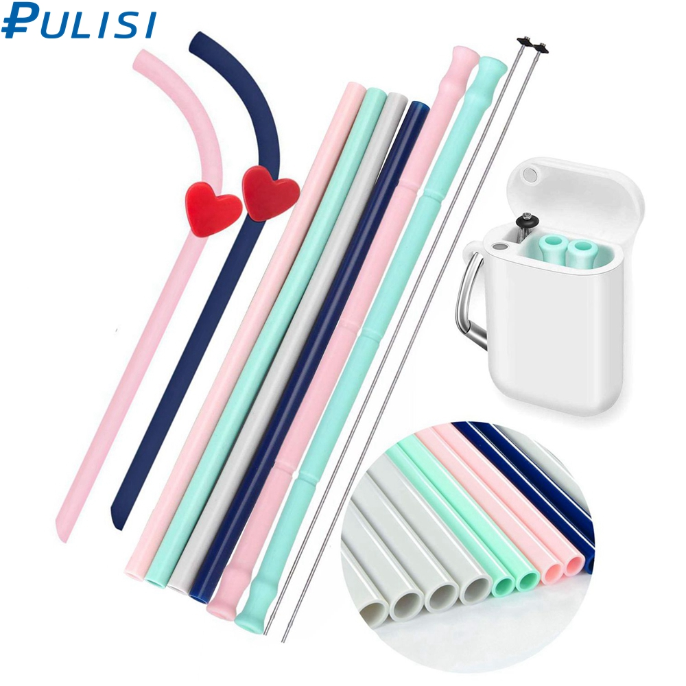 PULISI Silicone Straws 9.8inch Big Size Reusable Silicone Drinking Straws With Carrying Case And Cleaning Brushes BPA Free