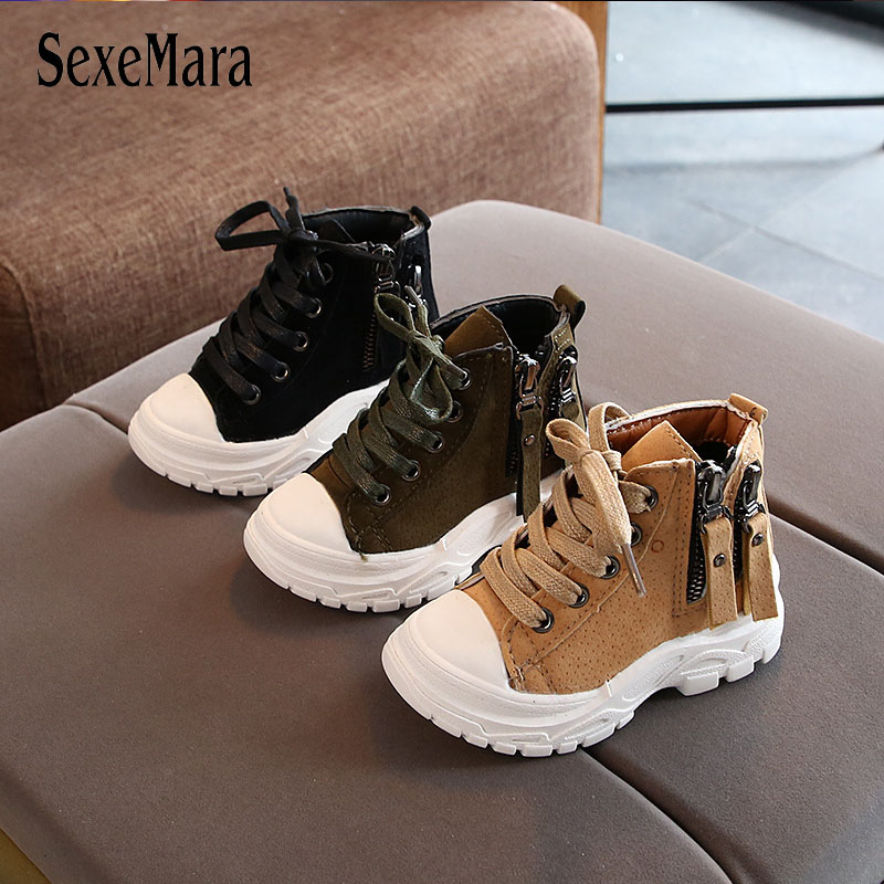 2019 Fashion Motorcycle Boots For Boys Girls Autumn Winter Side Zipper Outdoor Children Shoes Tassel Baby Toddler Sneaker C09302