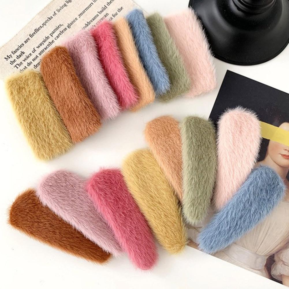 1Pcs Faux Fur Waterdrop Square Hair Clips Plush Hairpins Autumn Winter Soft Solid Color Barrettes Hair Accessories Bangs Clips