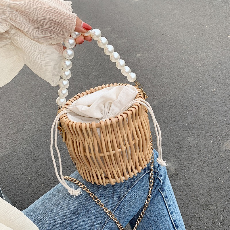 Pearl Beaded Straw Bag Hand-Woven Handbag Bohemian Style Ins Rattan Messenger Bag Holiday Beach  Bags for Women 2020