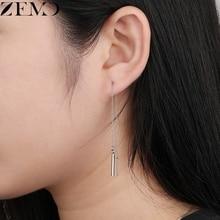 ZEMO 1 Pair Womens Long Chain Earrings Steel Dangle Fashion Celebrity Piercing Ear Jewelry pendientes mujer moda 2019