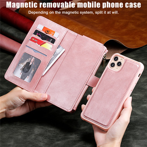 Image 4 - Luxury Leather Flip Card Case For iPhone 12 Mini 11 Pro Max X XS XR 6 6s 7 8 Plus Removable Wallet Car Magnetic Phone Cover Bags