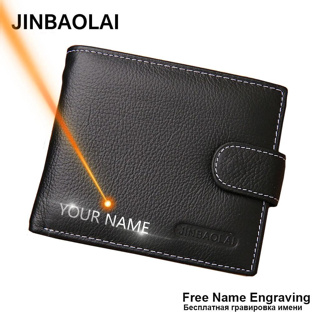 JINBAOLAI Leather Men Wallets Solid Sample Style Zipper Purse Man Card Horder Famous Brand Quality Male Wallet Name Engraving
