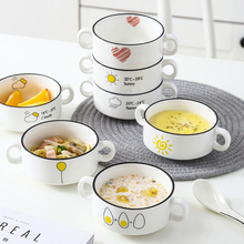 4.5 Inches Ceramic Soup Bowl Salad Bowl With Handgrips Snack Bowl Fruit Bowl Dessert  Rice Ramen Bowl Household Infant Baby Feed classical cherry blossom ceramic bowl set with bamboo chopstick fruit salad rice soup ramen bowl water tea cup kitchen tableware