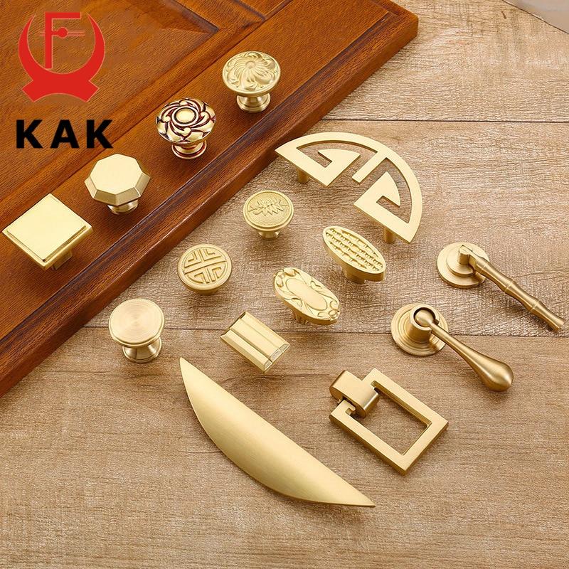 KAK Puxadores de Armário Da Cozinha de Cobre Puro Porta Do Armário Puxa Maçanetas de Gaveta Europeia Mobiliário Hardware Alça de Ouro de Bronze Do Vintage