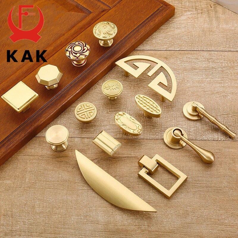 KAK Pure Copper Kitchen Cabinet Handles Cupboard Door Pulls Drawer Knobs European Vintage Brass Gold Furniture Handle Hardware