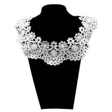 1PCS Water Soluble Embroidery Lace Fake Collar Shoulder Neckline Venise Fabric Dress Applique Trim Sewing DIY Decor 7Colors