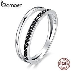 BAMOER hakiki 925 ayar gümüş çift daire siyah temizle CZ istiflenebilir parmak yüzük kadınlar için kaliteli gümüş takı hediye SCR082