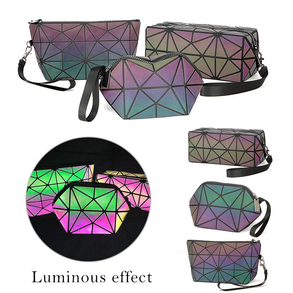 SHUJIN Fashion Women Zipper Cosmetic Bag Luminous Makeup Bag Geometric Women's Cosmetics Organizer Folding Travel Make Up Bags
