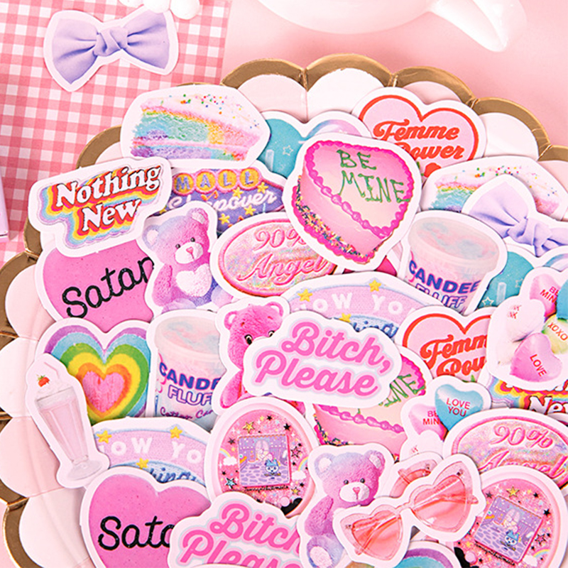 46pcs/set Sweet Life Series Stickers DIY Scrapbooking Album Mobile Computer Backing Collage Decorative Stickers