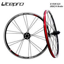 Disc-Brake 406 451 Wheelset Litepro Folding 74/130 Bike-Bmx Front-2 V Rear Rim Alloy