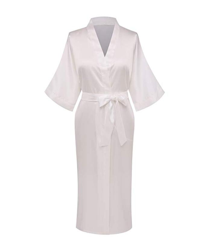 Plus Size S-XXXL Rayon Bathrobe Womens Kimono Satin Long Robe Sexy Lingerie Classic Nightgown Sleepwear With Belt