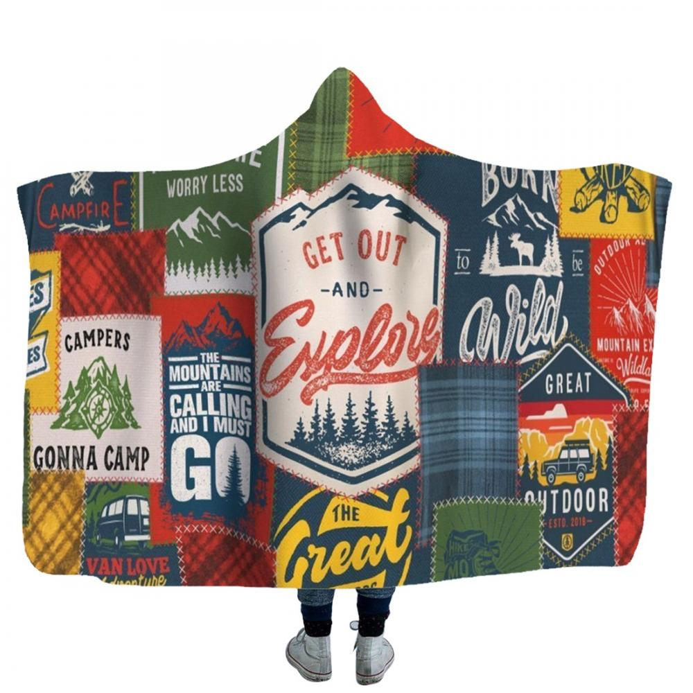 Soft Hooded Blanket For Adults 3d Printed Sherpa Winter Warm Hoodie Throw Home Picnic Travel Mantle
