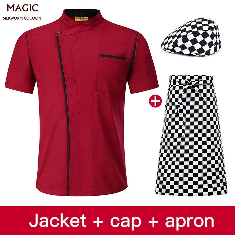 Catering Services Chef Uniform Clothing Cooking Chef Clothes Restaurant Uniforms Women Men Cooks Clothing Uniform +hat+apron