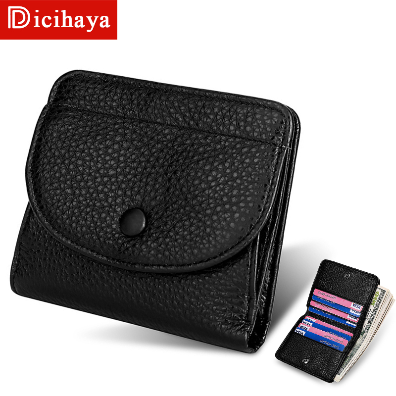 DICIHAYA Short Genuine Leather Hasp Wallet Women Casual Simple Female Short Small Wallets Coin Purse Card Holder Women Money Bag
