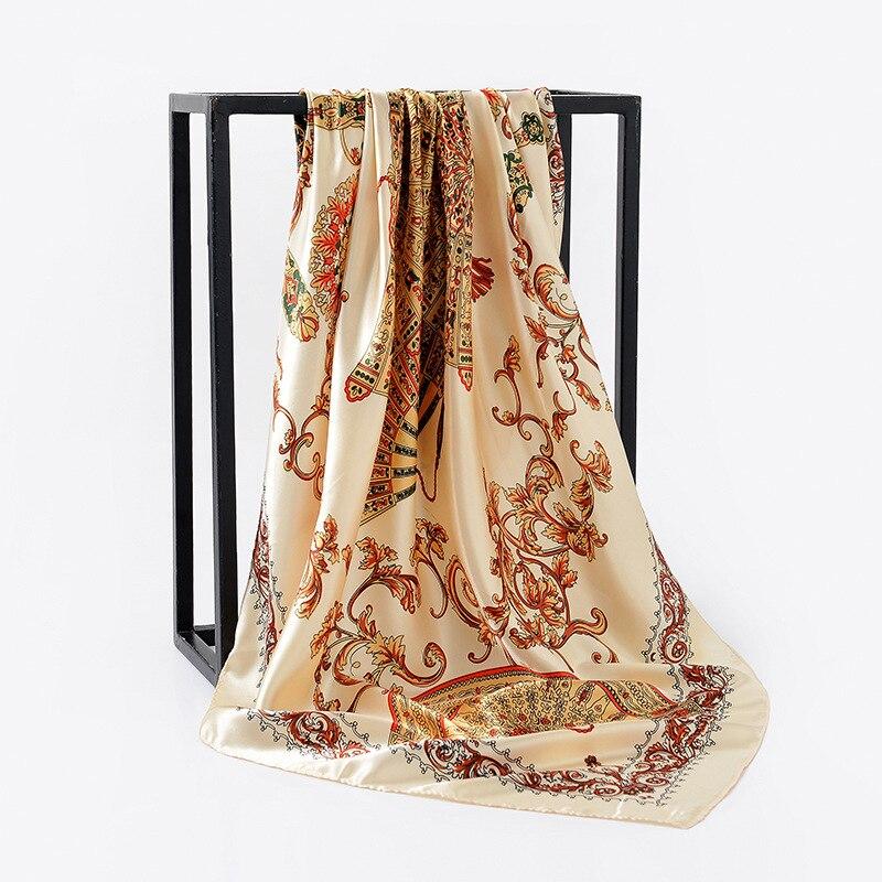2019 Silk Scarves Foulard 90*90cm Square Head Hijab Scarf Female Ladies Chiffon Shawl Bandanna Wrap Muffler Pareo Free Shipping