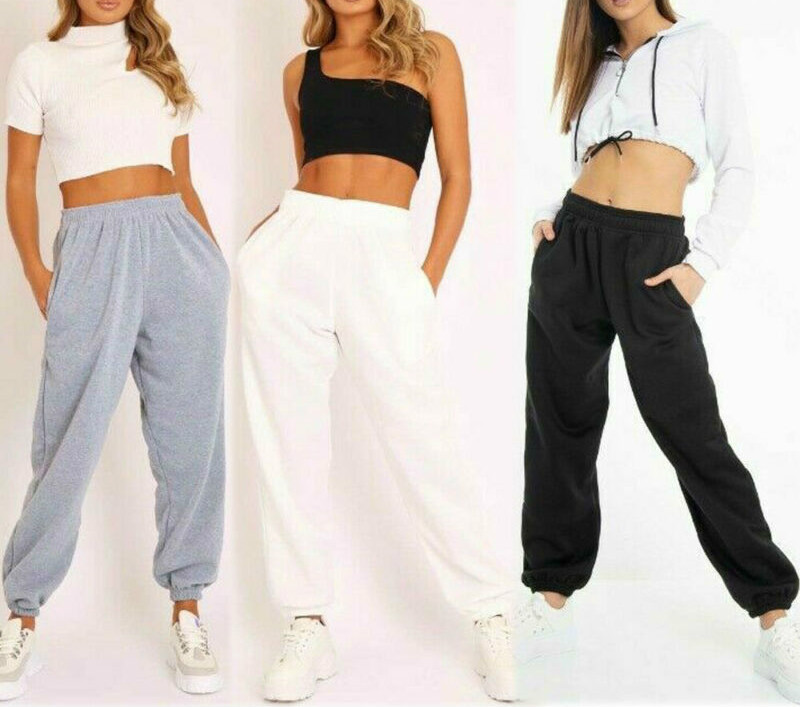 Womens Casual Wide Leg Long Pants Trousers Office Loose Stretch Lady Autumn Warm Solid Cotton Sport Fitness Elastic Harem Pants