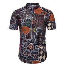 Fashion Summer Casual Men Shirt Slim Fit Flower Print Cotton Linen Shirt Short-Sleeved Shirts Male Floral Social Masculina M-3XL