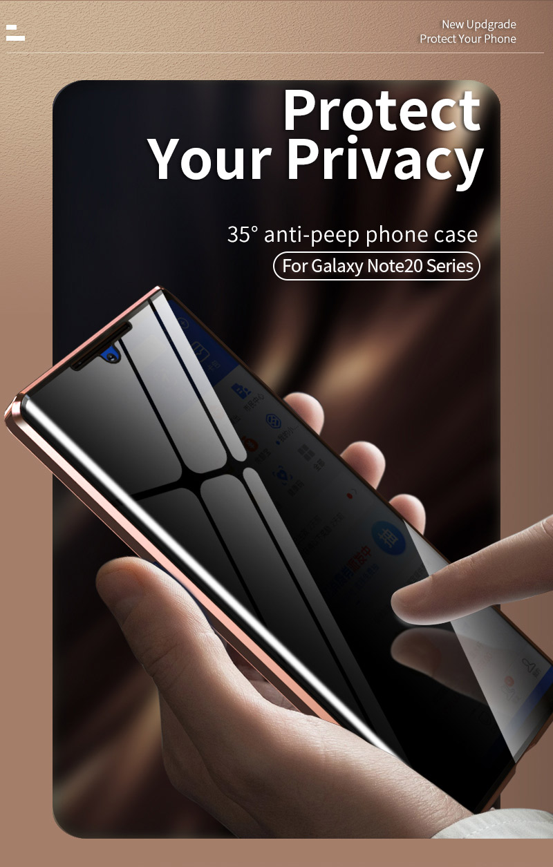 Privacy Glass Anti-peeping Magnetic Case for Samsung Galaxy Note 20 Ultra
