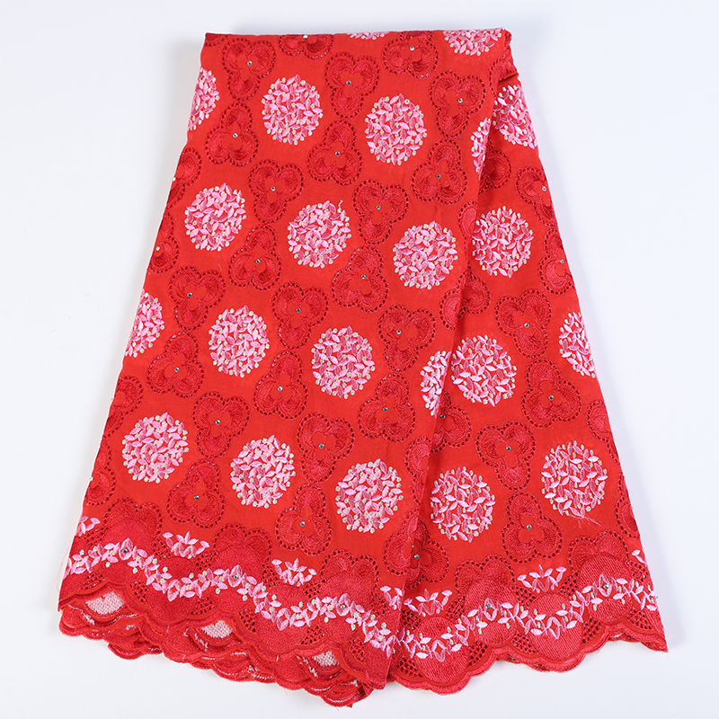 Newest Cotton-Like African Guipure Lace Fabric High Quality Floral Nigerian Voile Lace Fabric With Stones For Sewing Cloth