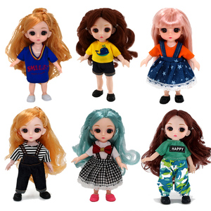 BJD Doll 1/12 16cm 13 Movable Joints Random head Dress Up Casual wear Doll clothes Accessories Fashion Toys for Girls DIY Gift(China)