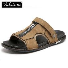 Valstone en cuir véritable pantoufles pour hommes été offre spéciale diapositives mâle sandales plage extérieur chaussures Hombre Sandalia extérieur chaussures