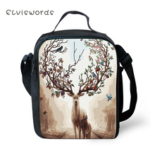 ELVISWORDS Childrens School Insulated Lunch Bags Cute Deer Pattern Kids Waterproof Box Family Outdoor Picnic Container