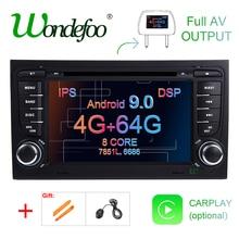 DSP ips Android 9,0 4G 64G Автомобильный gps для Audi A4 B6 B7 S4 B7 B6 RS4 B7 SEAT Exeo dvd-плеер радио ips экран wifi BT CARPLAY PC