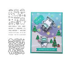 JCarter Metal Cutting Dies and Rubber Stamps for Scrapbook Monster Christmas Cheer Tree Craft Stencil Card Make Decoration Die