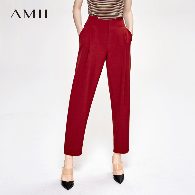 Amii Minimalist Office Lady Suit Pants Autumn Women Loose Solid High Waist Female Long Pants 11940060