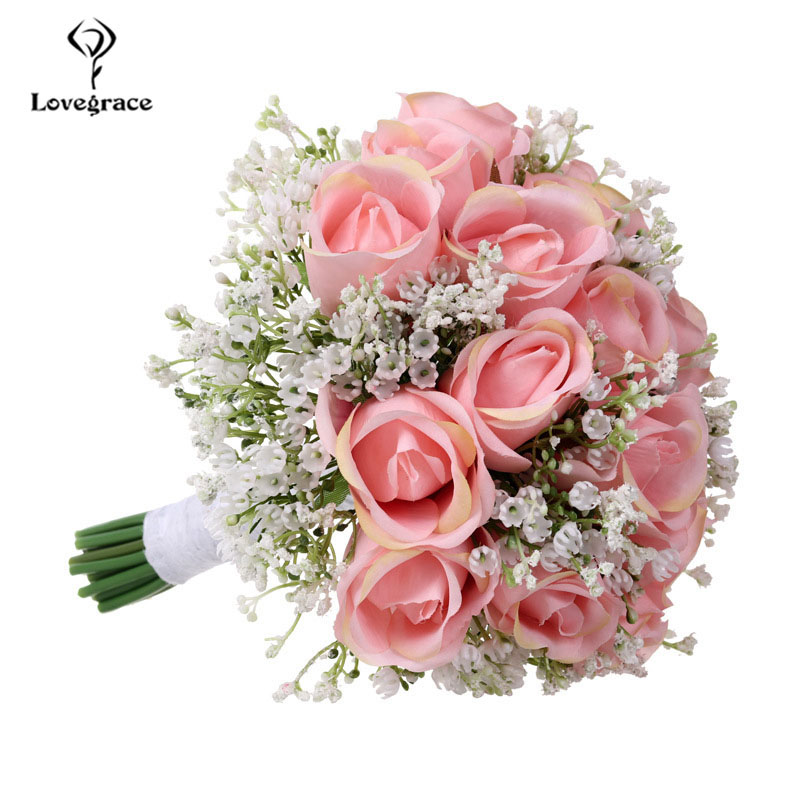 Lovegrace Bouquet Bride Wedding Bouquet Artificial Silk Rose Flower Fake Baby's Breath Pink Nosegay Party Prom Wedding Supplies