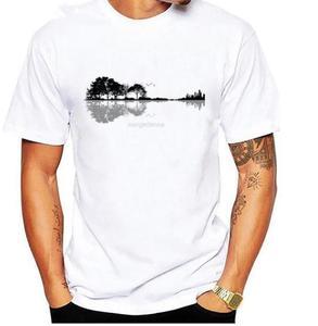 Men 2020 New Coming Great T Shirts Music Instrument Guitar Tree Silhouette 3D Tshirt Printing Men's Cool T Shirts 2020(China)