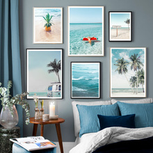 Beach Palm Tree Pineapple Ocean Signpost Wall Art Canvas Painting Nordic Posters And Prints Wall Pictures Decor For Living Room coconut palm tree beach wall art canvas painting nordic landscape posters and prints wall pictures for living room unframed