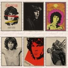 Póster Vintage decoración del hogar puertas Jim Morrison Kraft rock Poster retro banda de música rock cartel de estrella fotos de pared 1002